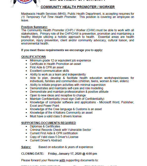 Employment Opportunity – Community Health Promoter