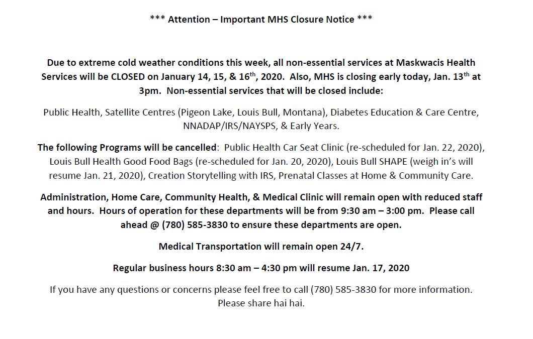 MHS Office Closure