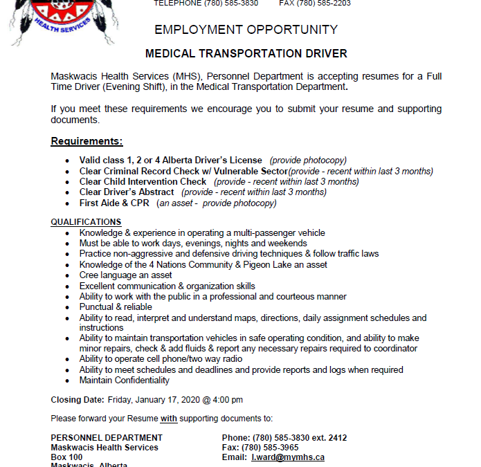 Employment Opportunity – Medical Transportation Driver
