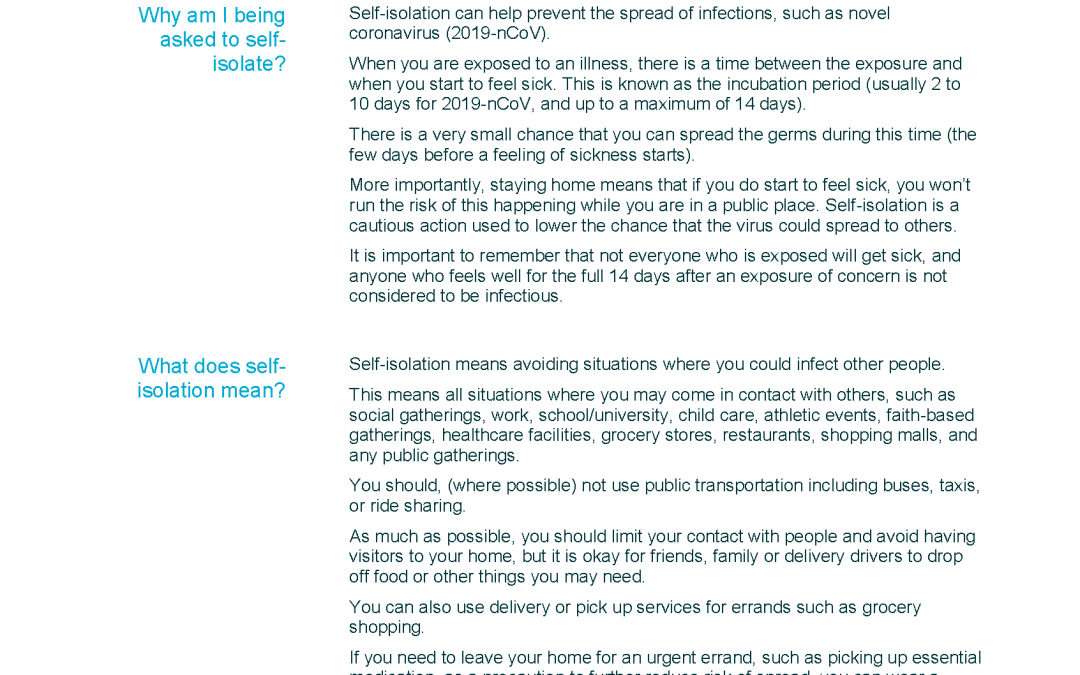 Self-isolation Information sheet