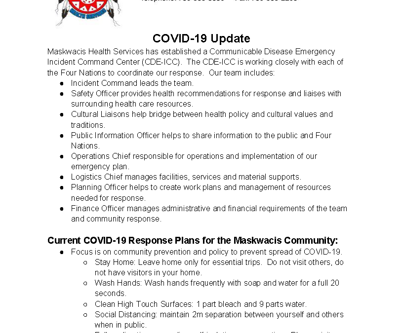 Maskwacis Emergency Response to COVID-19