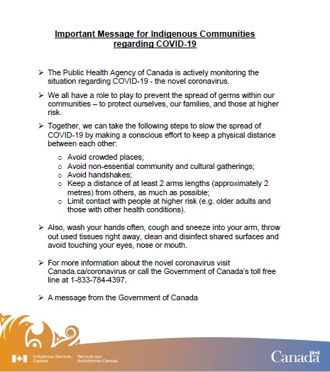 Important Message from Indigenous Services Canada