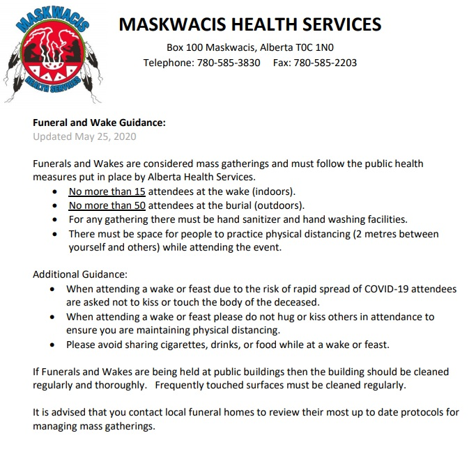 Updated Funeral and Wake Guidelines May 25, 2020