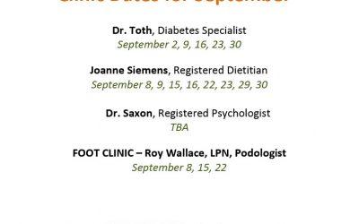 Diabetes Education & Care Centre September Clinic Dates