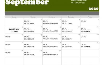 Maskwacis Medical September '20 Calendar