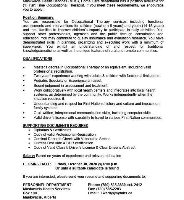 Employment Opportunity – Occupational Therapist