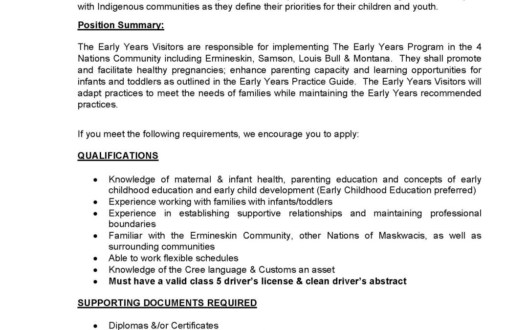 Job Opportunity – Early Years Visitors (Posted Dec. 10, 2020)