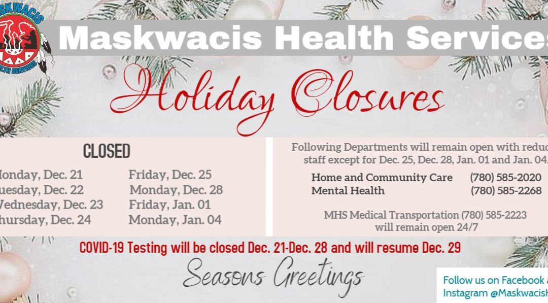 2020 Christmas Closure dates for MHS