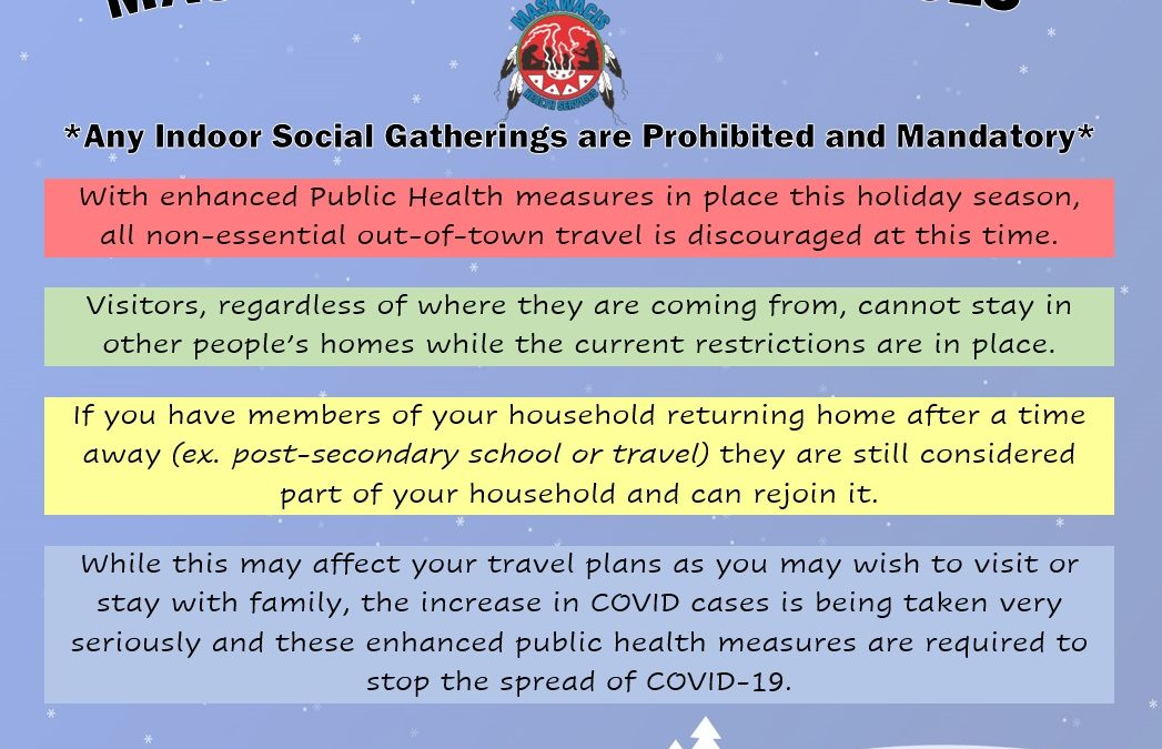 Social Gatherings are prohibited during the Holidays
