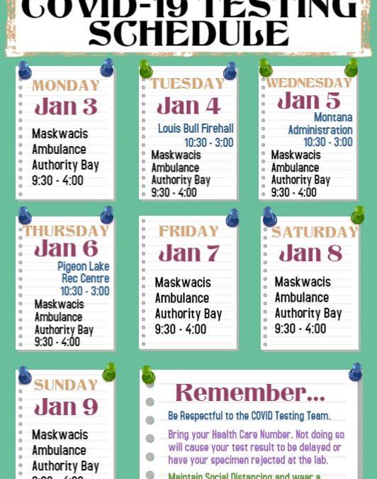 COVID-19 Testing Schedule Jan. 04- Jan. 10, 2021