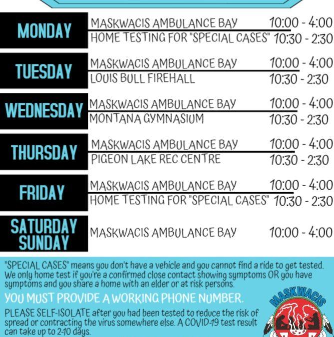 COVID-19 Testing Schedule