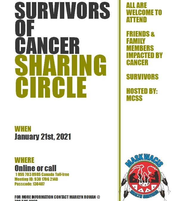 """Maskwacis Counseling and Support Services """"Survivors of Cancer – Sharing Circle"""""""
