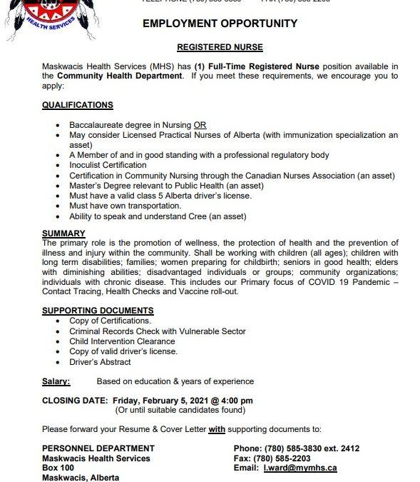 Employment Opportunity – Registered Nurse