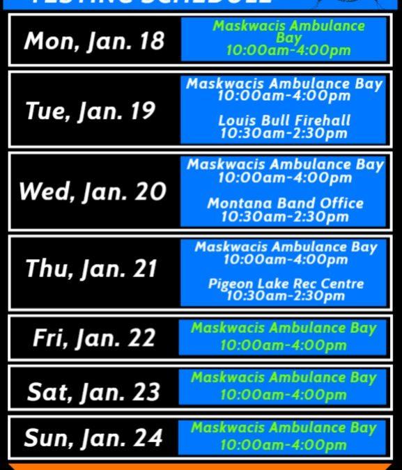 COVID-19 Testing Schedule Jan. 18-24, 2021