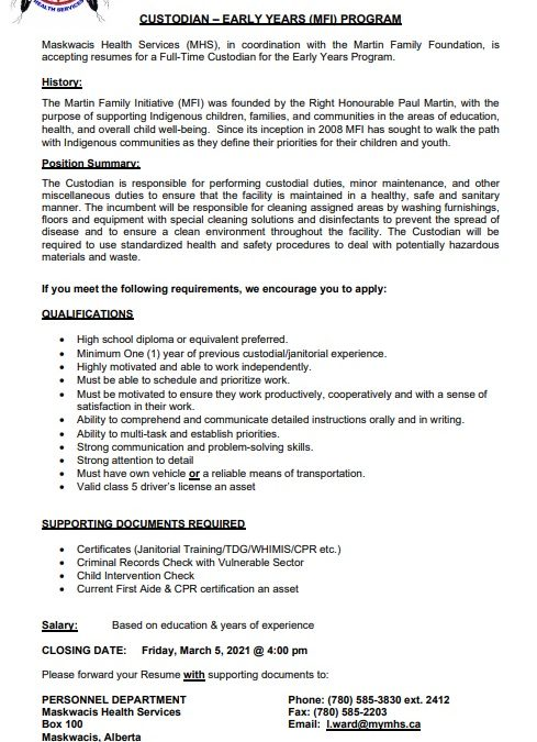 Employment Opportunity – Custodian for EYP. Closing Date March 05, 2021