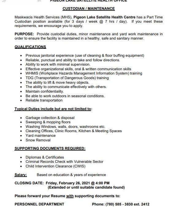 Employment Opportunity – Pigeon Lake Custodian/Maintenance. Closing date Feb.26, 2021