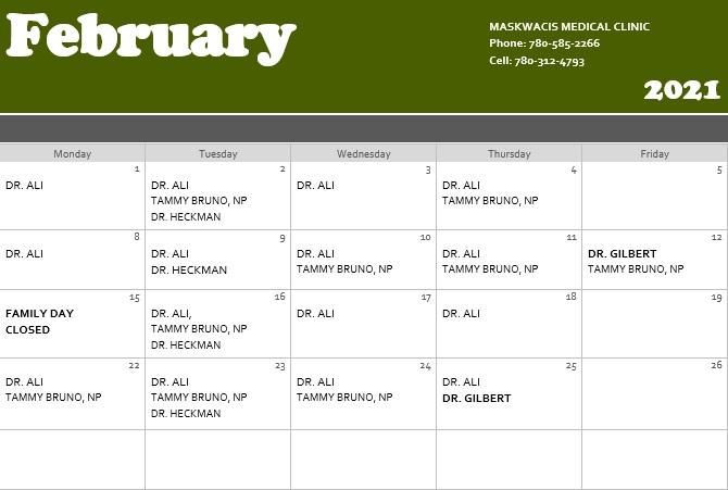 February 2021 Medical Clinic Calendar