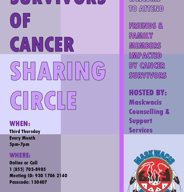 Cancer Survivor's Sharing Circle – Next Meeting March, 18, 2021