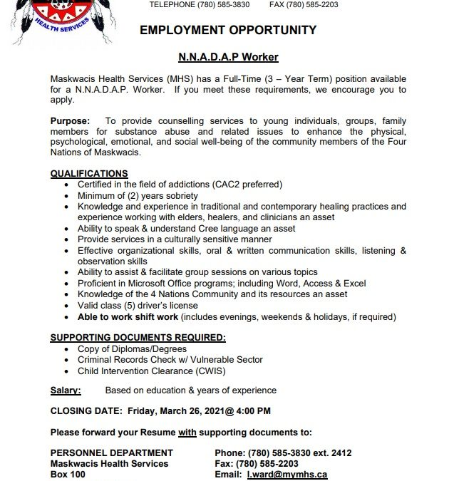 Employment Opportunity – NNADAP Worker
