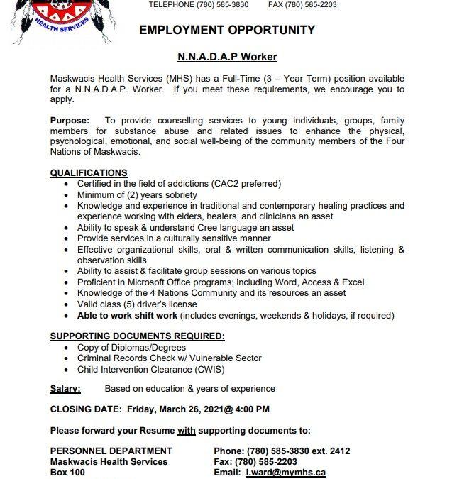 Employment Opportunity – NNADAP Worker