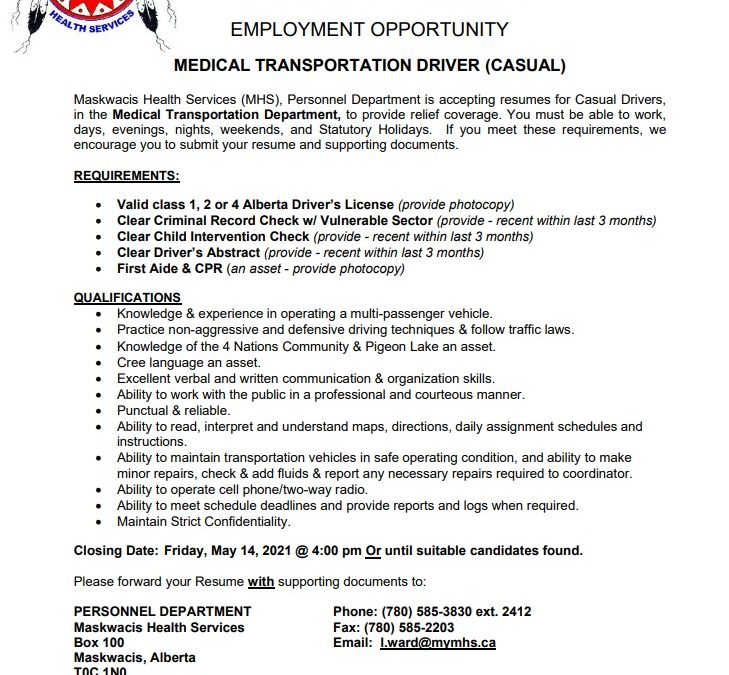 Employment Opportunity – Casual Medical Transportation Driver