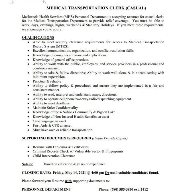 Employment Opportunity – Casual Medical Transportation Clerk