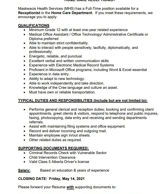 Employment Opportunity – Home Care Receptionist