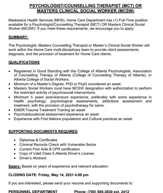 Employment Opportunity – Psychologist/Counselling Therapist or Masters Clinical Social Worker