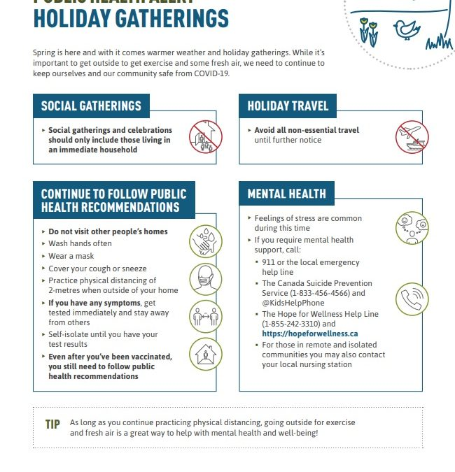 Holiday Gatherings information from Indigenous Service Canada