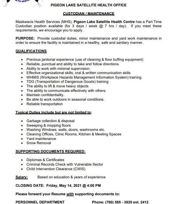 Employment Opportunity – Pigeon Lake Custodian/Maintenance