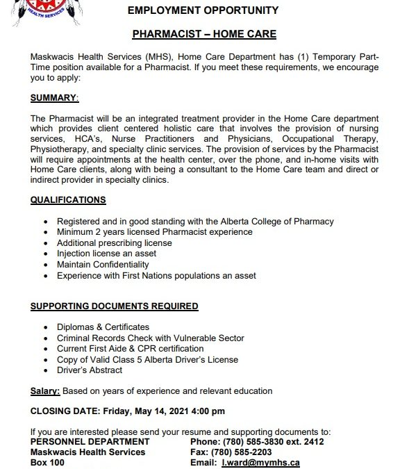 Employment Opportunity – Parttime Homecare Pharmacist