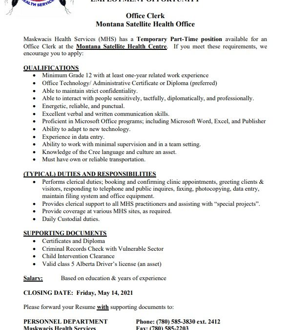 Employment Opportunity – Temporary Part-time Montana Office Clerk