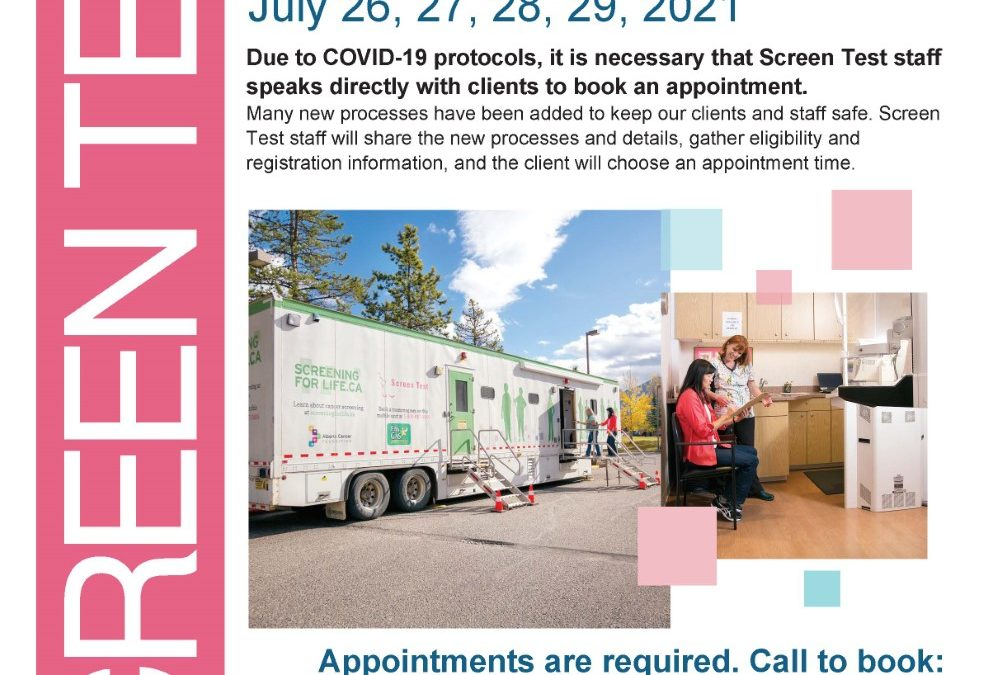 Mobile Mammography Screening – July 26-29, 2021