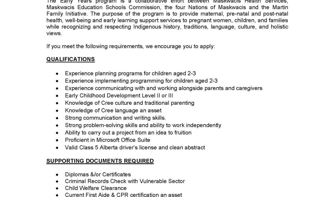 Employment Opportunity – Preschool Coordinator. Closing date is May 21, 2021