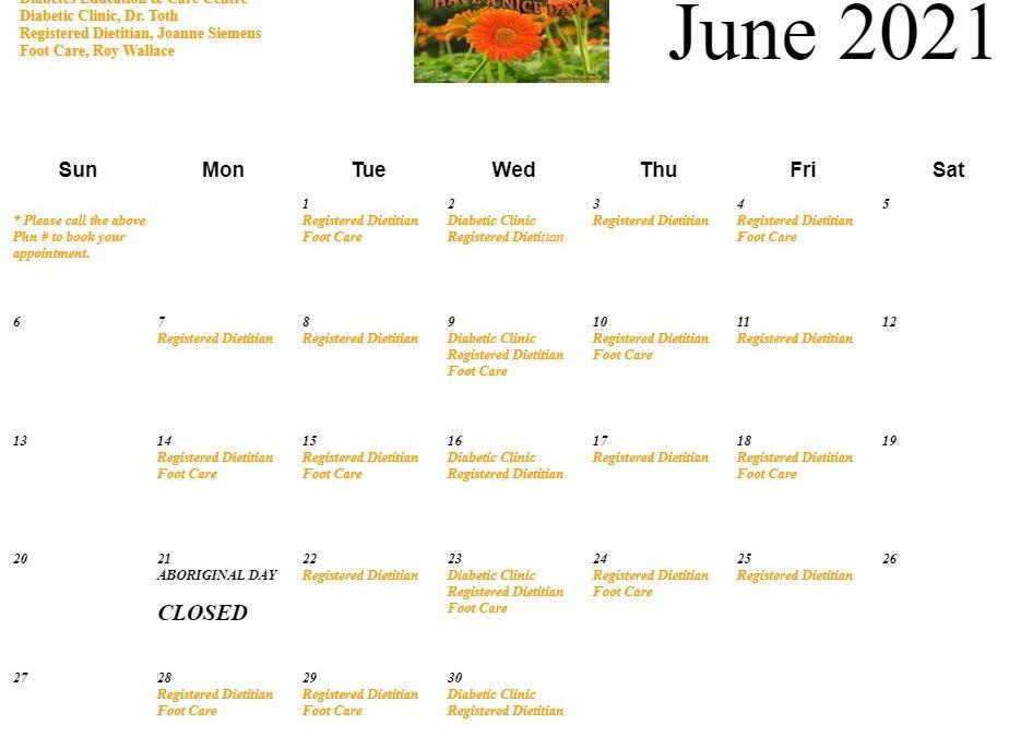 Diabetes Education & Care Centre. June Calendar
