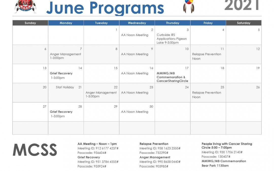 M.C.S.S June Calendar