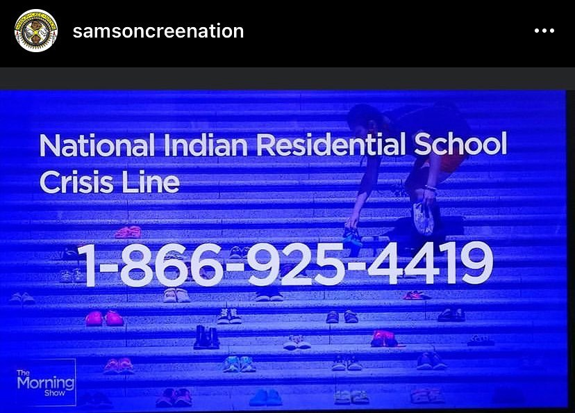 Maskwacis Counselling & Support Services is open 9-3 Monday-Friday, if you need to speak to a counsellor. 780-585-2268, text 780-312-5268 or follow their FB page.Below is the number for the national Indian residential school crisis line, to provide support for residential school survivors and others affected.People can access emotional and crisis referal services by calling the 24-hour national crisis line: 1-866-925-4419.
