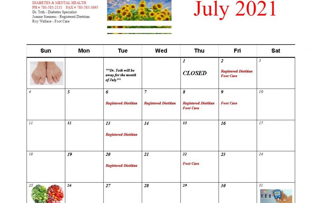 Diabetes & Mental Health July Calendar