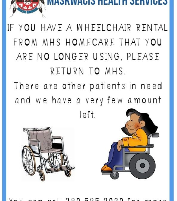 Homecare is requesting any Wheelchairs Rentals be returned you are no longer using.