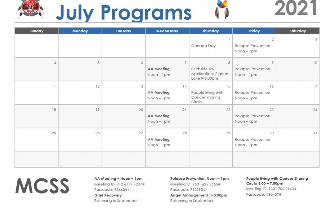 July Programs Calendar