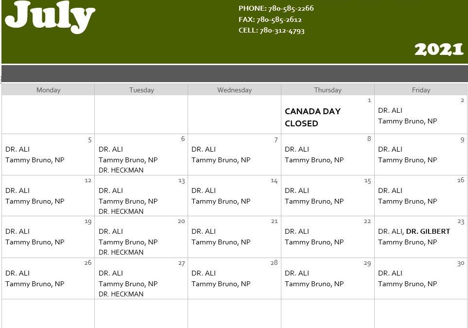 Medical Clinic July Calendar