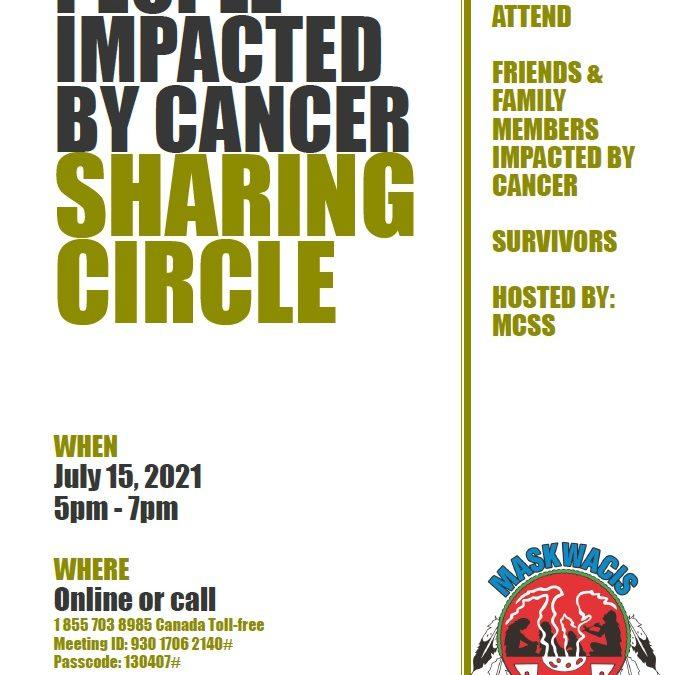 Sharing Circle July 15, 2021. 5pm-7pm