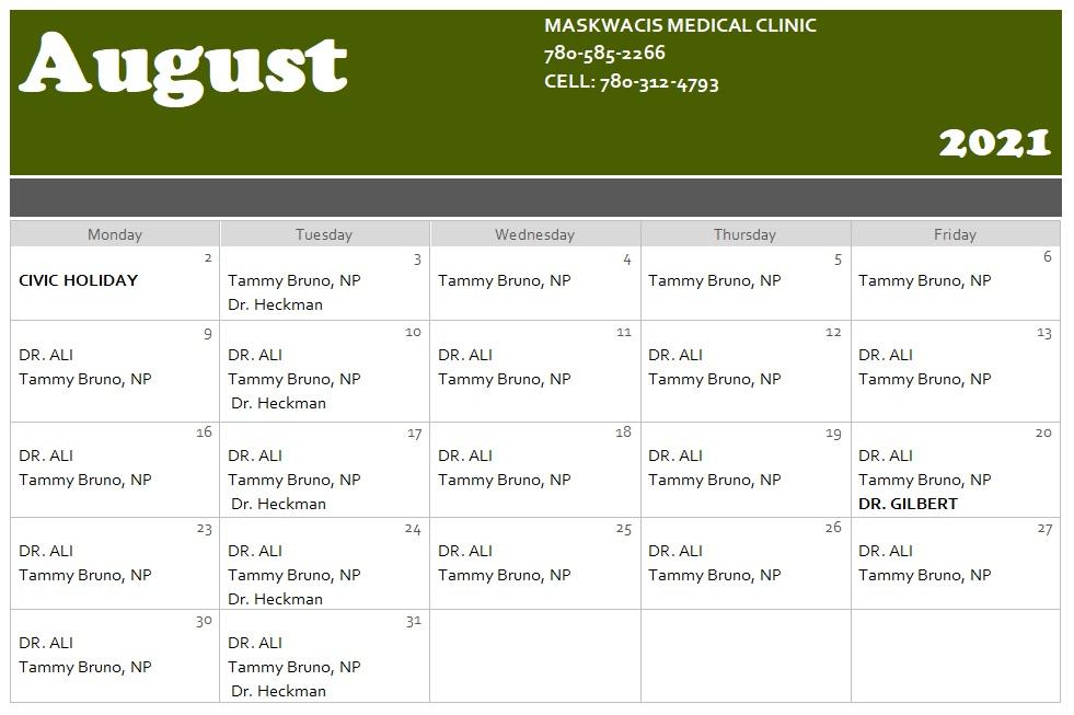 Medical Clinic Calendar for August